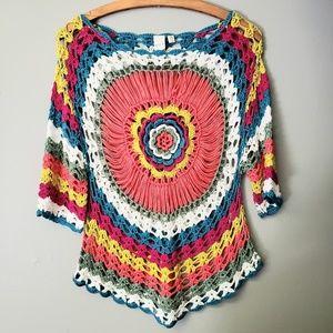 Vila Milano Boho Crochet Knit Sweater Top S/M